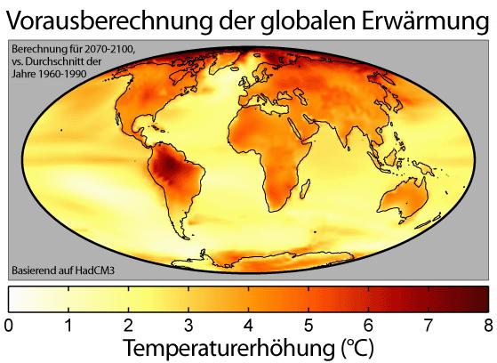 Die Weltkarte zeigt eine Prognose über die weltweite Temperaturverteilung zum Ende des 21. Jahrhunderts (2070-2100) im Vergleich zur zweiten Hälfte des 20. Jahrhunderts (1960-1990).