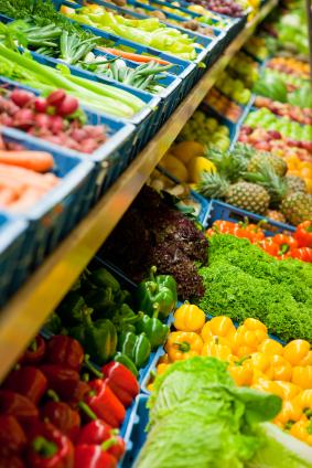 Die meisten Lebensmittel werden in Supermärkten gekauft.