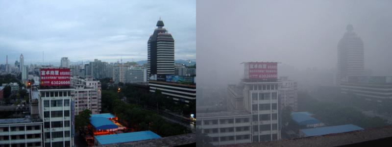 Feinstaubbelastung über Peking an einem sonnigen Tag (rechts) bzw. an einem Tag nach Regenschauern, die die Staubpartikel aus der Luft