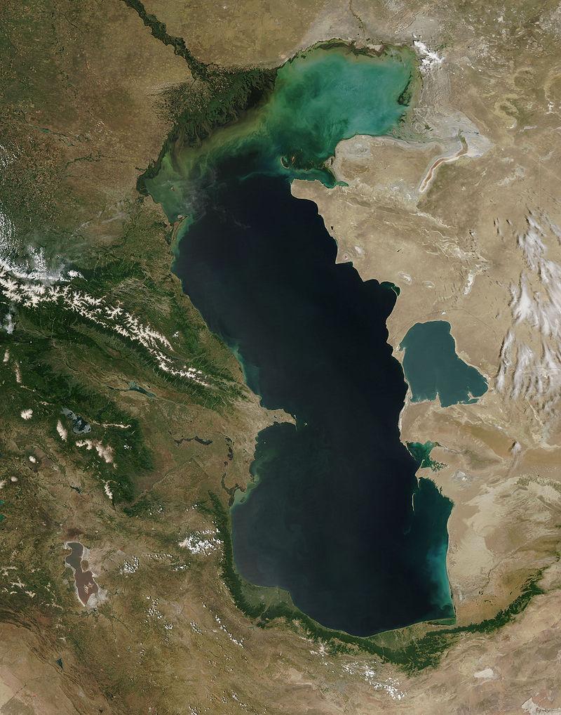 Im nördlichen Küstenbereich, östlich der Wolgamündung, ist die Algenblüte als Folge einer überhöhten Düngerzufuhr deutlich zu sehen.