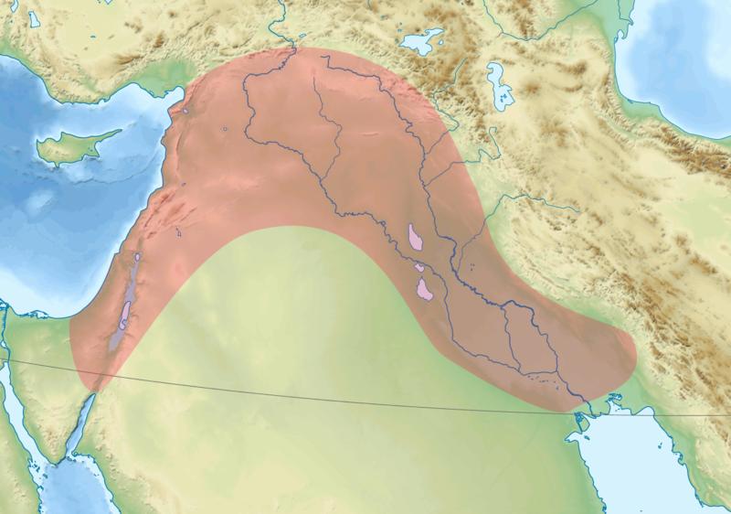 Die Karte zeigt den Fruchtbaren Halbmond (rot markiert) und auch die beiden Ursprungsregionen der Landwirtschaft. Links, am östlichen Ufer der Ägeis liegt die Levante; rechts, entlang der Ostgrenze des Halbmonds erstreckt sich das Zagros-Gebirgsmassiv von Nordosten gen Südwesten.