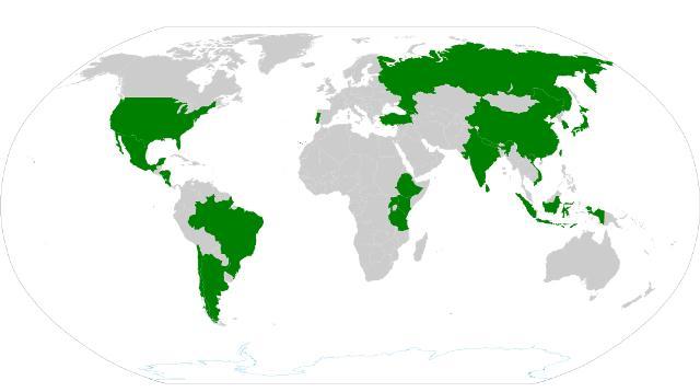 Tee produzierende Länder der Erde.
