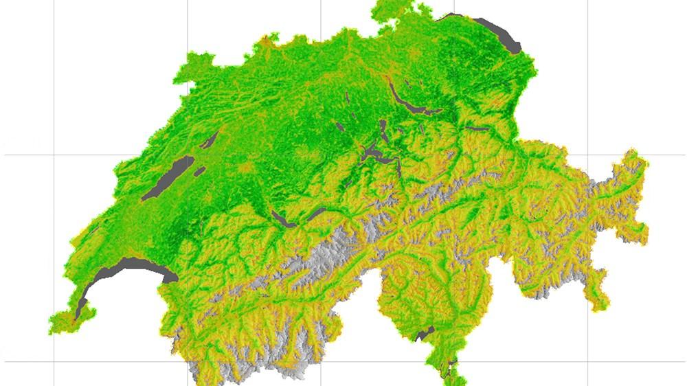 Die Schweiz aus der Vogelperspektive. Die Farben geben die unterschiedliche Biomasseproduktion wieder (grün – hoch, orange – niedrig). Je größer die Biodiversität, desto mehr Biomasse wird produziert.