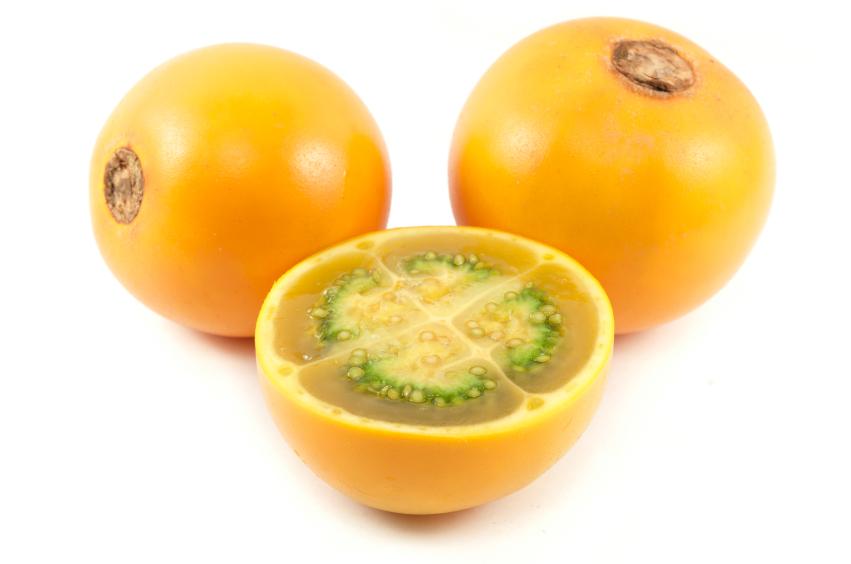 Die Frucht der Lulo-Pflanze wird in Kolumbien zur Herstellung von Säften verwendet.