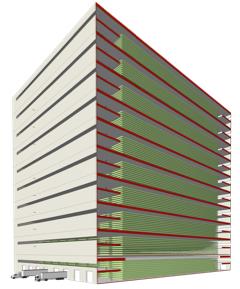 So könnte sie aussehen: Querschnitt einer 10-stöckigen vertikalen Weizenfarm, in der 100 Ebenen Weizen angebaut werden.