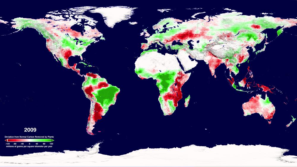 Weltweite Verteilung der Nettoprimärproduktion von 2000-2009: Dunkelrot erscheinen Bereiche mit stark verminderter, in grün Bereiche mit verstärkter Biomasseproduktion (Quelle: © NASA imaging Service).