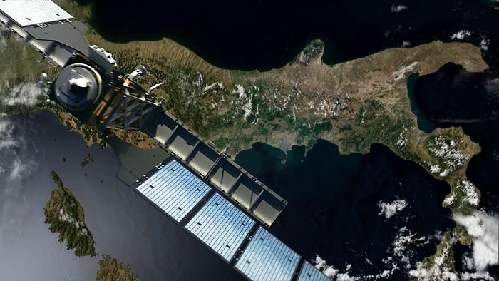 Der ESA-Forschungssatellit Sentinel 1 umkreist die Erde in 700 Kilometer Höhe und liefert von dort aus Daten für die Umwelt- und Klimafolgenforschung. (Bildquelle: © ESA/DLR)