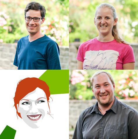 Das Team vonCRISPR Gate (von links oben nach rechts unten): Robert Hoffie, Iris Koeppel, Julie-Sophie Himpe und Christian Hertig.