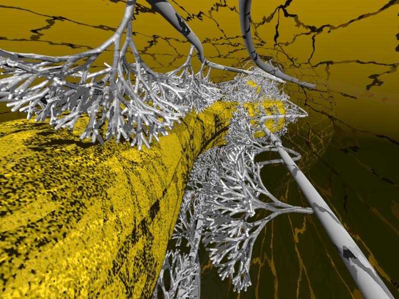 Innerhalb der Wurzel verzweigen sich die Hyphen arbuskulärer Mykorrhiza-Pilze zu bäumchenartigen Strukten. Über diese findet der Stoffaustausch mit der Pflanze statt. (Quelle: ©T. Fester / UFZ Leipzig)