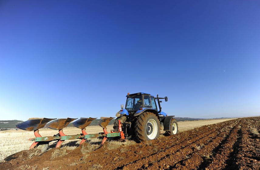Bodenbearbeitung mit dem Pflug: Die Pflanzenreste, die nach der Ernte auf dem Boden liegen, werden dabei eingearbeitet.