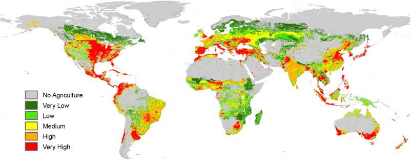 Globale Risikokarte: Sie zeigt die mögliche Gewässerbelastung durch Insektizide weltweit auf.