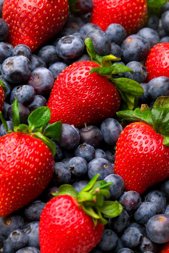 Erdbeeren und Heidelbeeren enthalten viele Anthocyane. (Quelle: © iStockphoto.com/ DJM-photo)