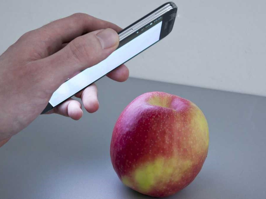 Mithilfe einer Smartphone-Anwendung des Fraunhofer-Instituts sollen Kontaminationen oder Qualitätsparameter von Lebensmitteln sichtbar gemacht werden. (Bildquelle: © Fraunhofer IFF)